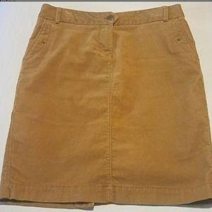 Tan Corduroy J Crew A line skirt size 2